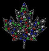 Bright Mesh Maple Leaf With Glare Effect. White Wire Frame Polygonal Network In Vector Format On A B poster