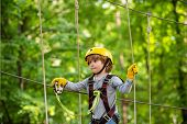 Adventure Climbing High Wire Park. Cute School Child Boy Enjoying A Sunny Day In A Climbing Adventur poster