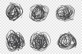 Black Tangled Knots Vector Illustrations Set. Circle Shaped Ink Brush Strokes, Grunge Scribbles Pack poster