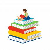 Cartoon Reading Little Girl. Clever Happy Girl Kid Sitting On Books Pile And Read, Preschool Learnin poster