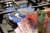 Ukrainian Banknotes Of Different Cost Near The Gas Stove. The Rise In Price Of Gas In Ukraine poster