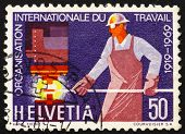 Postage stamp Switzerland 1969 Steelworker, 50th anniversary of