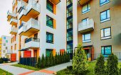 Modern Residential Apartments With Flats Building Exterior With Outdoor Facilities poster