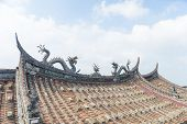 A Traditional Religious Building On Jiuhua Mountain, The Roof Is Made Up Of Traditional Tiles With R poster