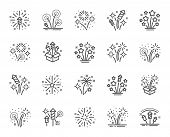 Firework Salute Line Icons. Carnival Celebration, Christmas Explosive Pyrotechnic And Festival Light poster
