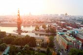 Moscow in the sunset light - General view from the top of the merging of the Moscow River and the By