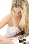 Guitar Girl In White Lingerie