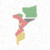 Map Of Mozambique. Mosaic Style Map With Flag Of Mozambique. Vector Illustration. poster