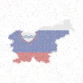 Map Of Slovenia. Mosaic Style Map With Flag Of Slovenia. Vector Illustration. poster