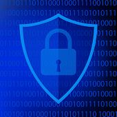 Secure Internet Sign. Protective Shield Icon Digital Security With The Image Of A Padlock. Symbol Se poster