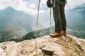 Young Hiker Female Standind In Cliff Edge And Enjoying The Imja Khola Valley During An Everest Base  poster
