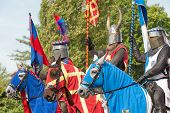 picture of hever  - Knights in beautiful armor outside of Hever castle in England - JPG