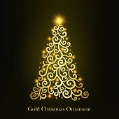 Vector Of A Glowing Golden Christmas Tree Ornament. Christmas Decorations With Glowing Stars. Illust poster