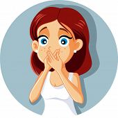 Sick Woman Covering Mouth Vector Cartoon Feeling Nauseated poster