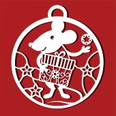 Rat Cutting Icon. Rat Simple Drawing For Laser Cutting. Chinese Symbol With Gift In Christmas Ball.  poster