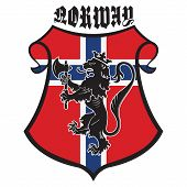 Classic Heraldic Royal Emblem. Vintage Heraldic Royal Lion With A Axe, Heraldic Shield And Flag Of N poster