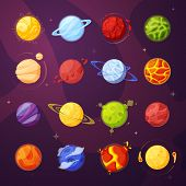 Planets In Outer Space Cartoon Vector Illustrations Set poster