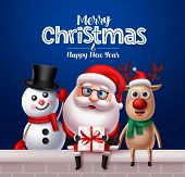 Christmas Santa Claus Characters Greeting Card Design. Santa Claus, Reindeer And Snowman Vector Char poster
