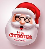 Christmas Santa Claus Vector Design. Santa Claus Happy Face With Long Beard And Merry Christmas Gree poster