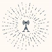 Grey Antenna Icon Isolated On Beige Background. Radio Antenna Wireless. Technology And Network Signa poster