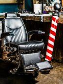 Barbershop Armchair, Salon, Barber Shop For Men. Barber Shop Pole. Logo Of The Barbershop, Symbol. H poster