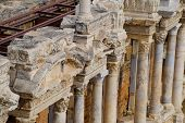 Bas-reliefs Of Antique Scenes On The Gables Of The Amphitheater In Hierapolis, Turkey. Ancient Antiq poster