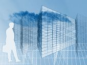 Businessman Silhouette Walking Towards City Wireframe Architecture
