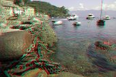 Ancient harbor remains in the bay of Portofino in Liguria, Italy (anaglyph stereoscopic image. Need Red Cyan glasses to view this image properly).