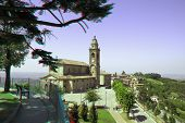 Old church as seen from promenade in town of Diano D'Alba in Piedmont, Northern Italy (anaglyph ster