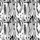 Abstract Colorless Vector Seamless Pattern. Grunge Background With Ink Hand Drawn Elements. Endless  poster