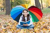 Audio Learning In Any Weather. Small Girl Listen To Audio Book On Autumn Landscape. Little Child Enj poster