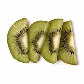 kiwi fruit slices isolated over white background closeup. Half of kiwi slice. Kiwifruit slice,  flat poster
