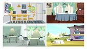 Dinner Places Illustration Set. Cafe Tables, Studio With Dining Table, Traditional Dining Room, Tabl poster