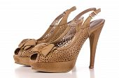 stock photo of high heels  - Brown high heel women shoes isolated on white background - JPG