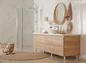 Modern Bathroom Interior With Vessel Sink And Big Mirror poster