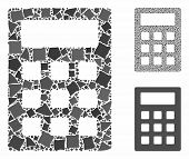 Calculator Mosaic Of Trembly Elements In Different Sizes And Color Tints, Based On Calculator Icon.  poster