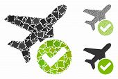 Aircraft Ok Mosaic Of Joggly Elements In Variable Sizes And Color Tinges, Based On Aircraft Ok Icon. poster
