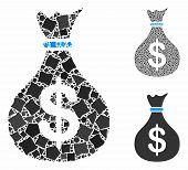 Fund Mosaic Of Trembly Elements In Different Sizes And Color Tinges, Based On Fund Icon. Vector Uneq poster
