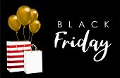 Celebration Balloon Sales Black Friday On A Black Background. Balloons Black Friday. Gold Balloons W poster