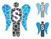 Angel Investor Mosaic Of Rough Parts In Various Sizes And Color Hues, Based On Angel Investor Icon.  poster