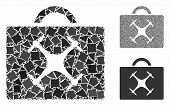 Drone Toolbox Mosaic Of Humpy Pieces In Different Sizes And Shades, Based On Drone Toolbox Icon. Vec poster