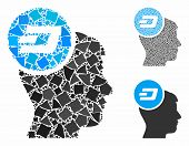 Dash Idea Head Mosaic Of Raggy Parts In Various Sizes And Color Tinges, Based On Dash Idea Head Icon poster