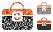Medic Case Mosaic Of Tuberous Items In Different Sizes And Color Tinges, Based On Medic Case Icon. V poster