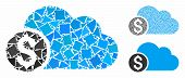 Banking Cloud Mosaic Of Joggly Items In Different Sizes And Color Hues, Based On Banking Cloud Icon. poster