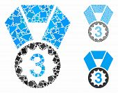 Third Place Mosaic Of Rugged Pieces In Variable Sizes And Shades, Based On Third Place Icon. Vector  poster