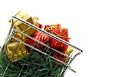 E-commerce Christmas shopping time - Side view isolated on white background