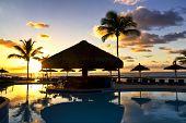 The Sunrise at swimming pool in Bahia - Brazil. as beach theme
