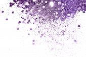 Purple Glitter And Glittering Stars On White Background In Vintage Colors poster