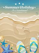 picture of footprints sand  - Summer holiday background with footprints in sand - JPG