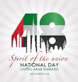 United Arab Emirates National Day Celebration Card. Vector Illustration. poster